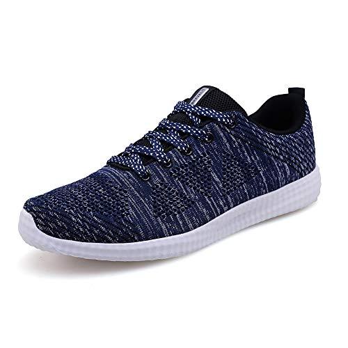 Homme Femme Chaussures de Running pour Course Sports Fitness Gym athlétique Sneakers,Gris Bleu Foncé,40 EU