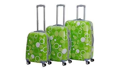 HOT CASE Reisekoffer Trolley Hartschalen Polycarbonat mit Zahlenschloss und 4-Zwillingsrollen 20' 24' 28' 3er Set (kreis grün, 20'/S)