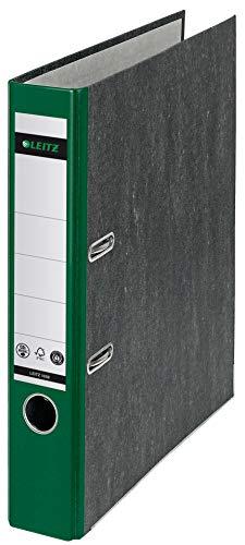 Leitz Qualitäts-Ordner, A4, klimaneutral, 52 mm Rückenbreite, grüner Rücken, Wolkenmarmor-Papier, 10505055