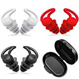 3 Sets Reusable Safe Silicone Anti-Noise Earplugs with Storage Boxes Noise Reduction Noise Cancelling Ear Plugs Hearing Protection Earplug for Sleeping Racing Shooting Traveling (Black, Grey and Red)