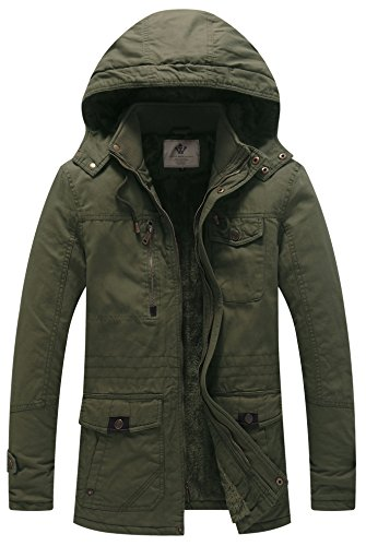 WenVen Men's Winter Warm Thickened Cotton Parka Jacket Army Green XL
