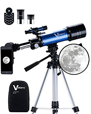 Vanstarry Telescopes for Kids, Travel Kids Telescope, 70mm Aperture 400mm AZ Mount Astronomical Refractor Telescopes for Adults Astronomy Beginners, Portable Travel Telescopes with Carry Bag