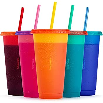 Color Changing Cups with Lids and Straws for Adults - 5 Reusable Summer Tumblers with Lids and Straws in Bright Colors 24oz Plastic Iced Coffee Cup Set Personalize Your Bulk Tumbler with Straw