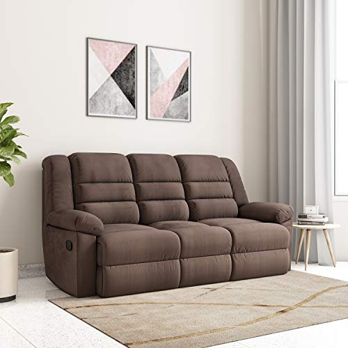 Amazon Brand - Solimo Musca 3 Seater Fabric Recliner (Chocolate)