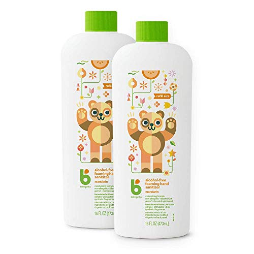 Foaming Hand Sanitizer Refill, Alcohol Free, Mandarin, Kills 99.9% of Germs, 16oz- Babyganics Pack of 2
