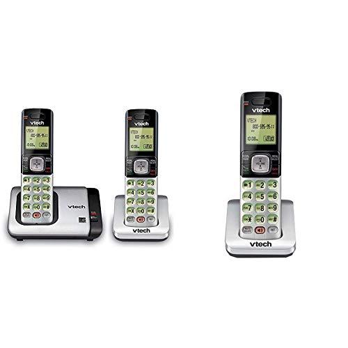 VTech CS6719-2 2-Handset Expandable Cordless Phone with Caller ID/Call Waiting, Handset Intercom & Backlit Display/Keypad & CS6709 Accessory Cordless Handset, Silver/Black