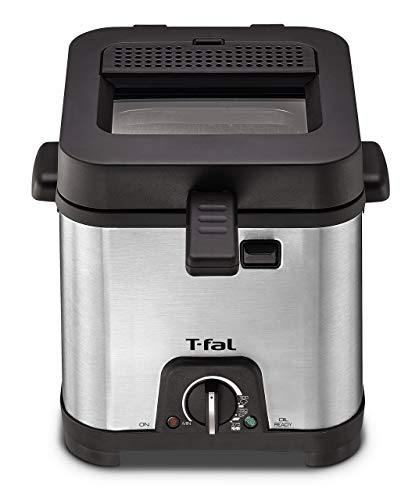 T-fal FF492D Stainless Steel 1.2-Liter Oil Capacity Adjustable Temperature Mini Deep Fryer with Removable Lid, 0.66-Pound, Silver (Renewed)