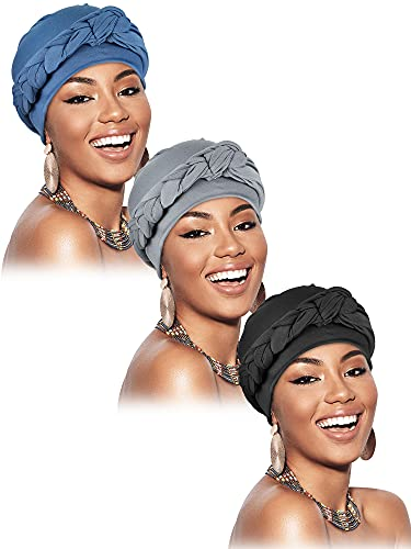 3 Pieces Head Wrap Turban Headwear Pre-Tied Twisted Braid Hair Cover Headwrap Hats for Women Girls