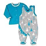 Koala Baby Strampler 2er-Set für Jungen mit Shirt im Wald-Tier-Motiv | Baby-Kleidung für Neugeborene & Kleinkinder | Grau - blau | Größe: 9-12 Monate (80)