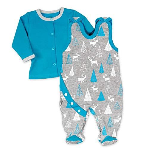 Koala Baby Strampler 2er-Set für Jungen mit Shirt im Wald-Tier-Motiv | Baby-Kleidung für Neugeborene & Kleinkinder | Grau - blau | Größe: 6-9 Monate (74)