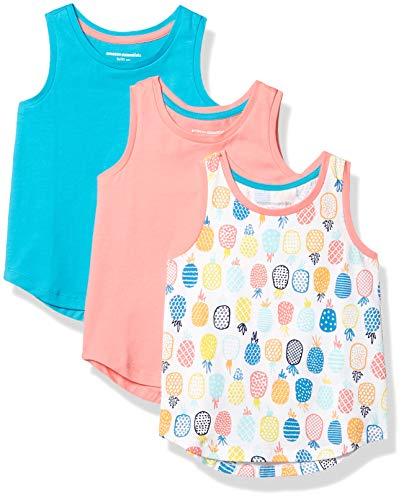 Amazon Essentials Girls' 3-Pack Tank Top, Pineapple/Pink/Aqua, XL