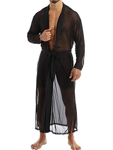 TiaoBug Herren Bademantel Morgenmantel Transparent Mesh Jacke Mantel lang mit Gürtel Sexy Dessous Erotische Nachtwäsche Schwarz L