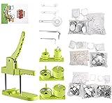 Button Maker Machine Multiple Sizes 1+1.25+2.25 inch Push-Pull DIY Buttons,300pcs Plastic Button&100pcs 25mm Metal Button&Circle Cutter&Pictures&Magic Book&Gasket Badge Punch Press Machine…