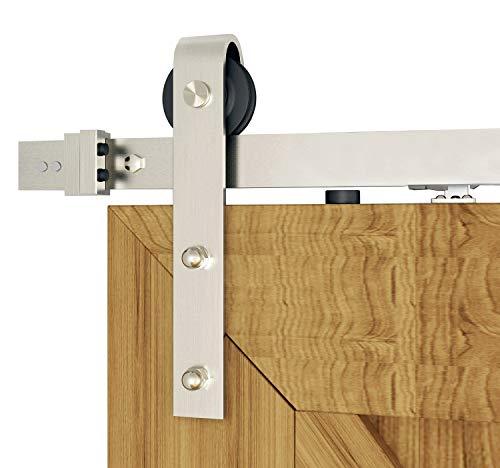 DIYHD 6FT Brushed Sliding Barn Door Hardware Two-Side Mechanism, Soft Close kit