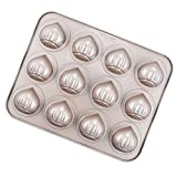 CHEFMADE Muffin Cake pan, 12-Cavity Non-Stick Chestnut-Shaped Bakeware for Oven Baking (Champagne Gold)