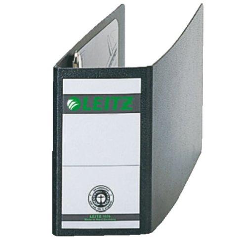 Leitz Qualitäts-Ordner für Sonderformate, Hartpappe (RC) mit Wolkenmarmor-Kaschierung, A6 quer, 8 cm Rückenbreite,  78 x 150 x 217 mm, Schwarz, 10780001
