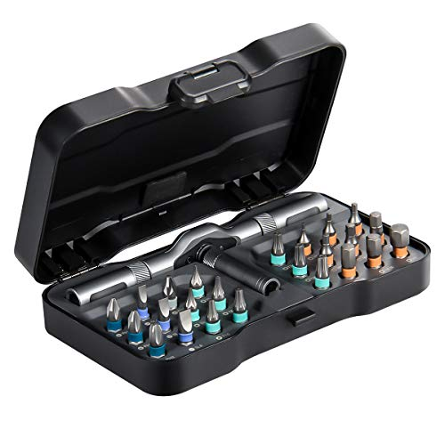 """Magnetic Ratcheting Screwdriver Bit Set, HOMFUL 25 PCs 1/4"""" Ratchet Wrench Screwdriver Set with Phillips,Slotted,Hexagon and Torx- Changeable Handle- Repair Tool Kits for Laptop, PC, Furniture, DIY"""