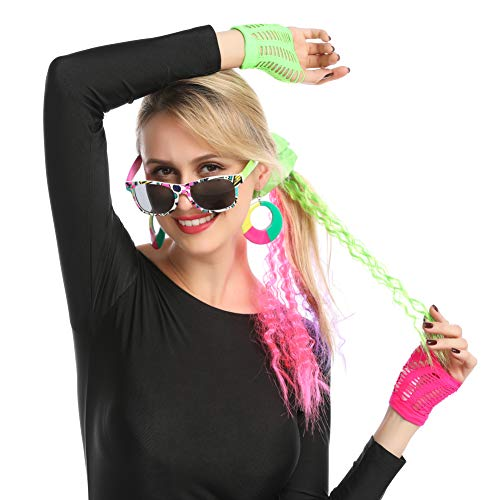 Accesorios Disfraz de los 80s, Gafas, Goma Pelo, Pendientes, Extensiones y Guantes para Mujer