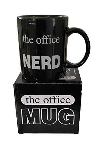 Taza negra con diseño de The Office Nerd