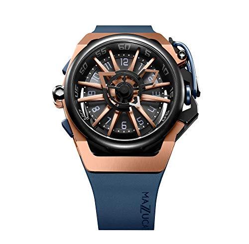Mazzucato Rim 02-BLCG6 - Reloj de pulsera reversible para hombre, automático, cronógrafo, correa de dos tonos y esfera reversible, color oro rosa