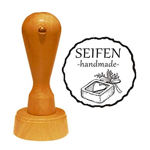 Stempel SEIFEN HANDMADE - Durchmesser ca. Ø 40 mm - mit Motiv