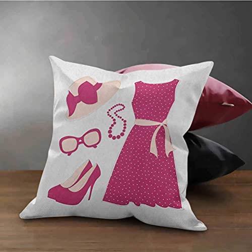 N\A Moda Oficina Funda de Almohada Sombrero de Vestir de Color Pastel con una Cinta Tacones Altos y Collar Ropa de Mujer Cojín Decorativo con Cremallera Rosa melocotón pálido
