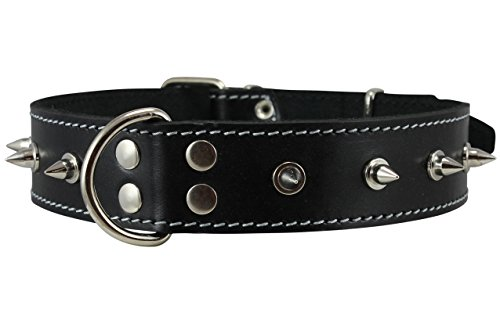 """Dogs My Love Real Leather Black Spiked Dog Collar Spikes, 1.5"""" Wide. Fits 17""""-21.5"""" Neck, Large Breeds."""