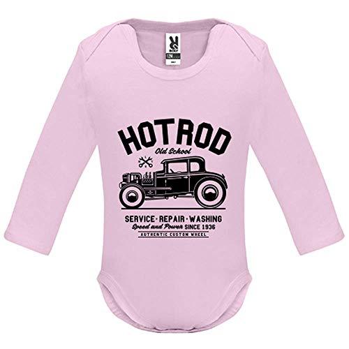 LookMyKase Body bébé - Manche Longue - Hot Rod Old School - Bébé Fille - Rose - 9MOIS