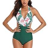 Bikini siamés con Cuello en V de una Pieza Bikinis Mujer 2019 Push up Traje de baño Mujer Sexy Bikinis Bikini Playa Bañadores de Natacion