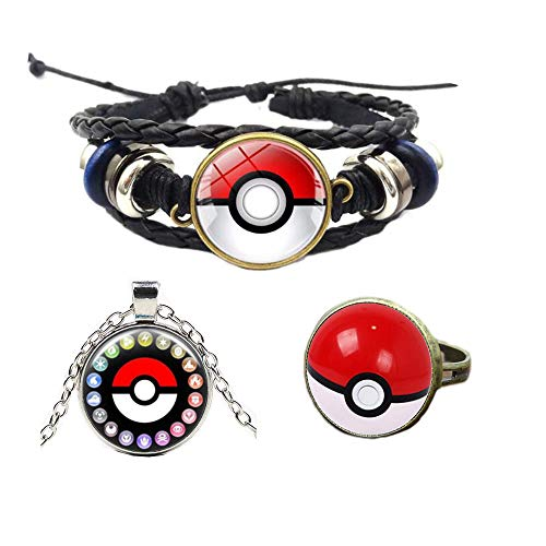 3Pcs Game Pokemon Poke Ball Bracelet Pikachu Charm Pocket Monster Hand Chain Wristband Wrist Strap with Necklace Ring