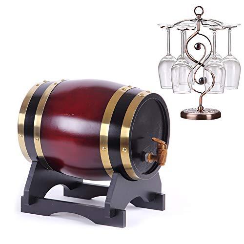 YANGUANG Barril de Vino Whisky Barril Barril de Vino Barril de Madera for Whisky o Vino, for Guardar su Propio Whisky, Cerveza, Vino, borbón, Brandy (Color : B, Size : 3L)