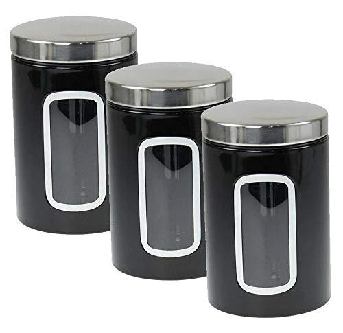 AQS International - Juego de tarros grandes de acero inoxidable para té, café, azúcar, espejo, cocina, 11 cm de diámetro, 17 cm de alto negro