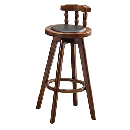 AZHom Barhocker Leder Kuhfell Barhocker Holz Barhocker RotaryContinental Hocker Retro American Barhocker Cafe Barhocker RestaurantSwivel Chair Barhocker