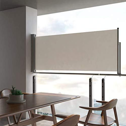 Nishore Ausziehbare Seitenmarkise 100 x 300 cm Creme | Windschutz Sichtschutz Sonnenschutz | Seitenwandmarkise Seitenrollo für Balkon Terrasse Garten Cremer Markisenstoff + graue Stange