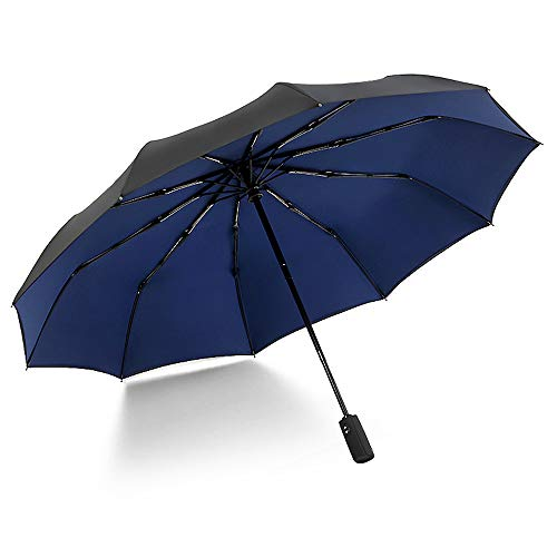 xinrongqu Super 10 Bone Double Outdoor Umbrella Sonnenschirm Automatic Open Windproof Umbrella Blau Navy 23