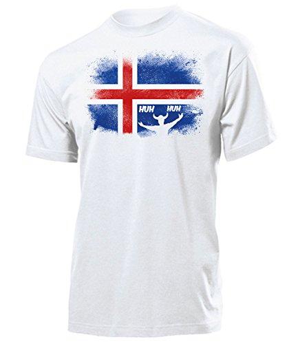 Island Iceland Fan t Shirt Artikel 5950 Fuss Ball Welt Europa Meisterschaft EM 2020 WM 2022 Team Trikot Look Flagge Fahne Männer Herren Weiss L
