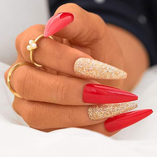 Sethexy Stilett Falsche Nial Funkeln rot Falsche Fingernägel Gold Bling Drücken Sie auf 24St Acryl Kunst Nagelspitzen für Frauen und Mädchen