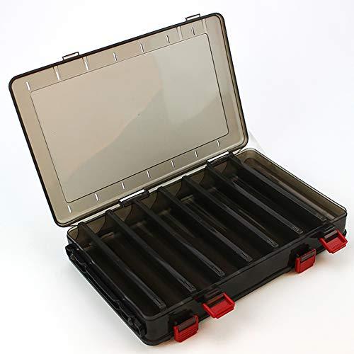 Caixa de ferramentas de pesca Sxgyubt multifuncional, dupla face, camarão de madeira, plástico, caixa de ferramentas de pesca, caixa de ferramentas, caixa de contêiner de arma de dupla face, 14 peças, caixa falsa