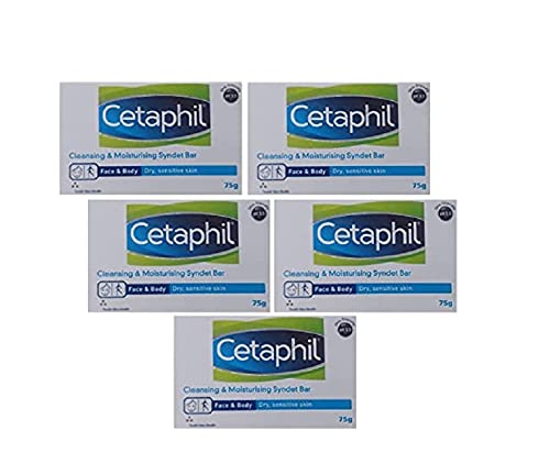 Cetaphil Cleansing and Moisturising Syndet Bar 5X 75gm (Pack of 5), white