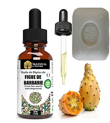 Aceite de semillas de higo Chumbo ORGÁNICO + jabón de leche de cabra ORGÁNICO - Cuidado facial, antiojeras, antiarrugas, cabello, cuerpo y estrías - Productos naturales