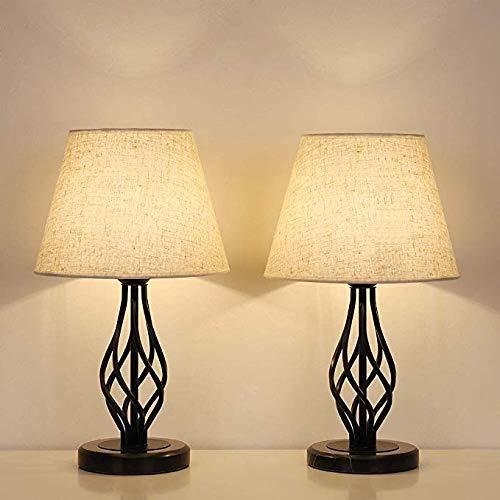 HAITRAL Tischlampe,2er-Set - Neben Vintage Nachttischlampen mit Marmorsockel und Leinenschirmschirm, kleinen Schreibtischlampen für Schlafzimmer, Büro, Studentenwohnheim, ideale Geschenke, Dekor