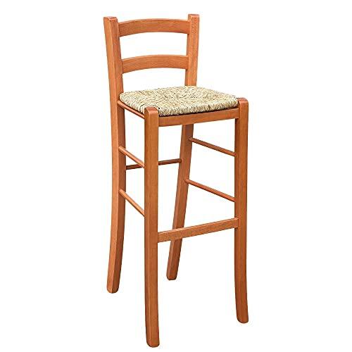 Sgabello in legno h80 da terra alla seduta ciliegio seduta impagliata