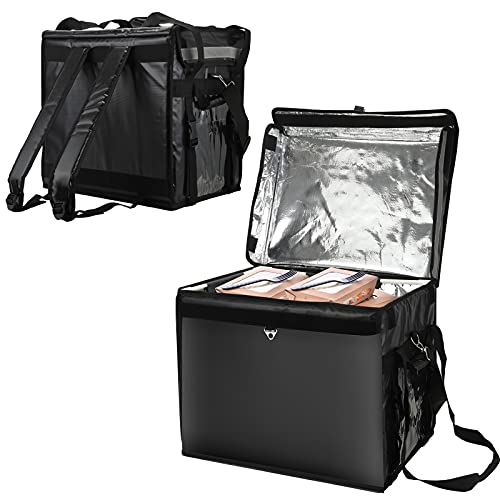 Kacsoo Sac à dos de livraison de pizza, sac de livraison de nourriture isolé, grand sac à dos de livraison de nourriture de 44 L, sac à dos thermique, sac à dos à isolation thermique, sac à dos isolé