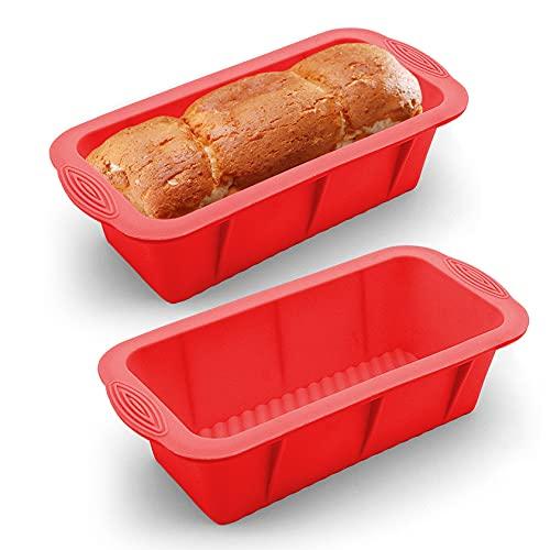 Yosemy Silikon Brotbackform 2stk Kastenform umweltbewusst Backform LFGB Zertifiziert BPA-frei Brotbackform für 500g Kuchen Brote Antihaft & Leicht zu Reinigen(2er Set)