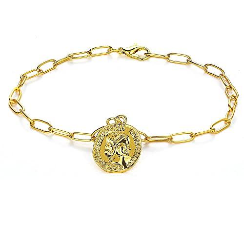 Pulseras retro con colgante de cabeza dorada para mujer, joyería de playa de lujo, cadena gruesa para chicas de moda