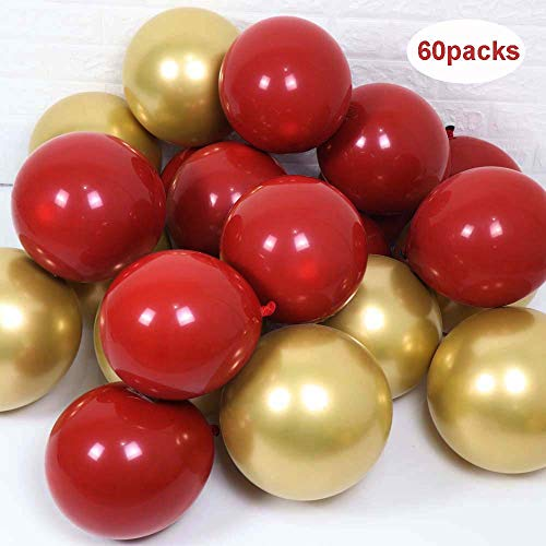 60packs-12inch Metallic Chrome Gold and 10 inch Ruby Red Balloon(Black Balloon Inside) for Valentine Day Wedding Birthday Party Decoration