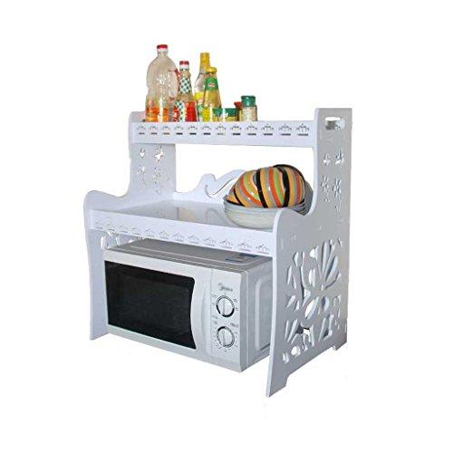 LIYANJIN Küchenbedarf Küche Einfach Weiß 2-stöckige Holz-Mikrowellenherd-Rack Bodenmontierter Ablageboden Pot-Rack Organisationshalterung Aufbewahrung Rack