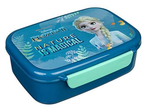 Scooli FRUW9903 Fiambrera de plástico con dos clips, Disney Frozen II, fácil de abrir y cerrar, sin BPA ni ftalatos, aprox. 18 x 13,5 x 6 cm