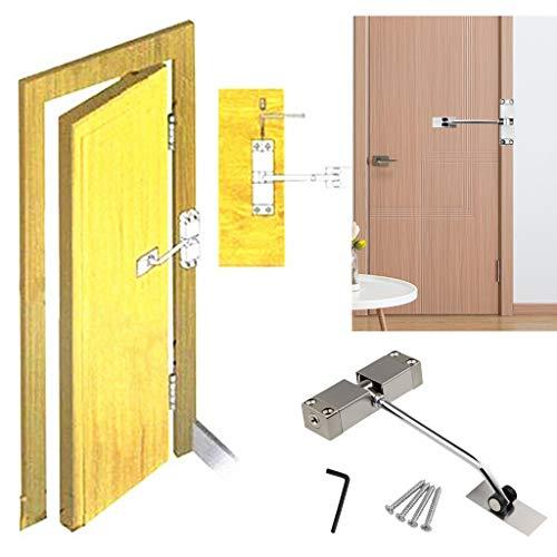 Türschließer, LeeMon Automatisch Schliessen Werkzeug Einstellbare automatische Stärke Federtürschließer Scharnier Notausgang Automatische Tür (Silber)