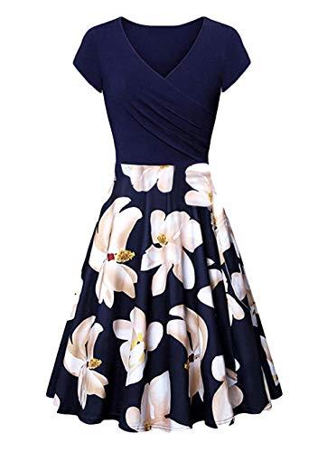 EFOFEI Vestido de mujer con estampado floral y manga de alas y cuello en V Flores Z azules y blancas. L